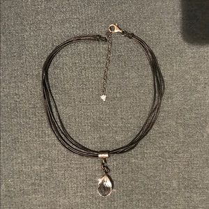 Silpada Sterling Leather & Crystal Necklace